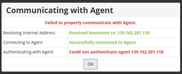 r1soft Could not authenticate agent